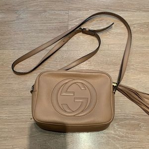 GUCCI COGNAC CROSSBODY SHOULDER BAG WITH TASSEL